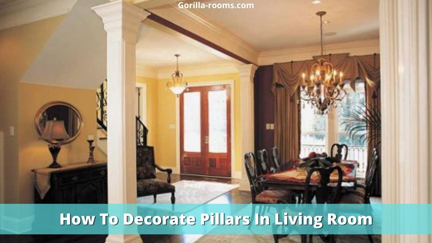 how to decorate a pillar in living room