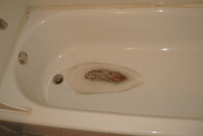 yellow stains in bathtub